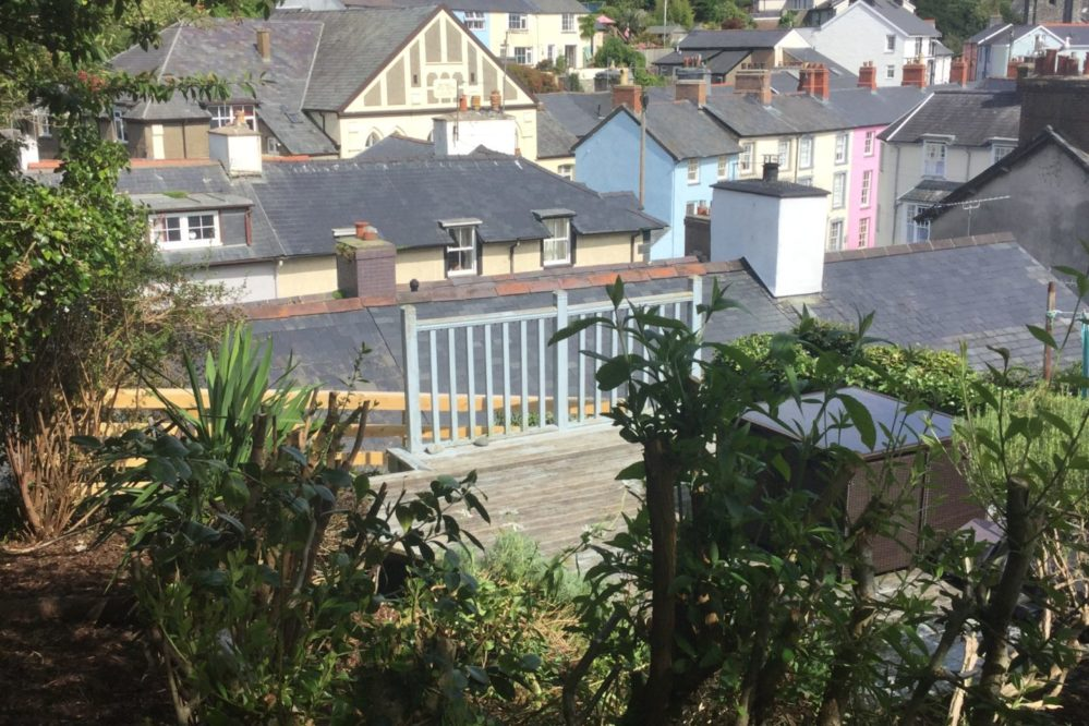 4 Evans Terrace Enclosed separate rear garden overlooking the village rooftops towards the sea